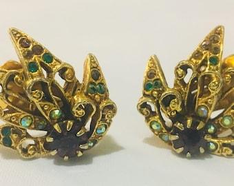 Gold Tone Rhinestone Earrings