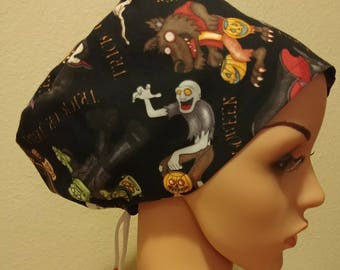 Women's Surgical Cap, Scrub Hat, Chemo Cap, Zombies