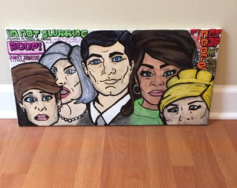 Pop Art Style Archer Characters & Quotes Acrylic Painting