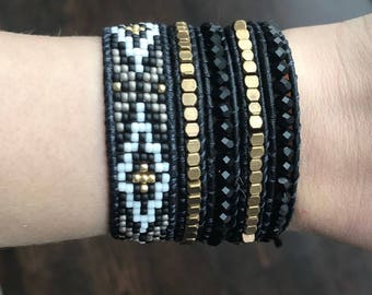 Black and Gold Single Wrap Bracelet
