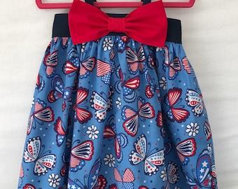 4th of July Dress, Patriotic Dress, Baby Girl Dress, Little Girl Dress, Red White Blue Butterfly Dress, Toddler Dress, Big Bow Dress
