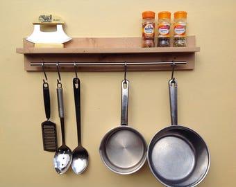 Kitchen Pot Rack. Saucepan, Mug or Utensil Hanging Rack. Saucepan hanger. Pan hooks. Handmade wall shelf for spice pots. Reclaimed wood eco