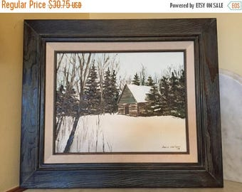 25% OFF SALE Vintage 1980's Winter Landscape Rapid River, Mi by Dave Carlson Framed Acrylic on Canvas Log Cabin in Winter Housewarming Gift
