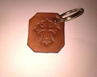 Keychain leather natural vintage crosses
