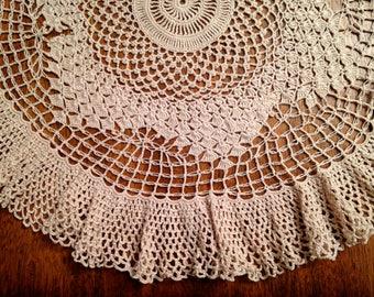 Vintage Ruffled Hand Crocheted Doily