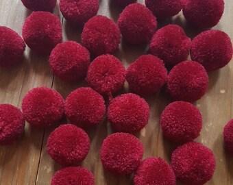 "10 balls PomPoms ""Burgundy"" 20 mm"
