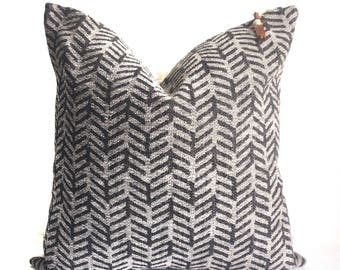 Black and grey woven arrow pillow cover 18x18