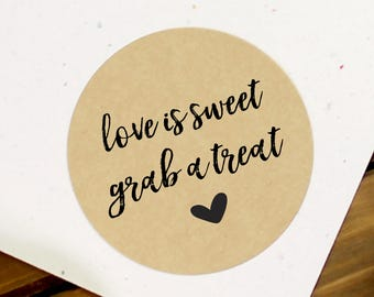 Love is Sweet Stickers, Wedding Stickers, Custom Wedding Stickers, Wedding Labels, Candy Bag Stickers, Candy Buffet Tags (11-0001-034)