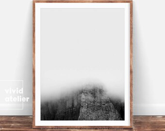 Black and White Mountain Photography, Modern Minimalist, Minimal Art, Minimal Wall Decor, Minimal Print, Nature Wall Art, Mist Print, Prints