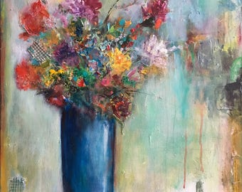 Original Abstract Acrylic Painting On canvas, Blue Vase With Colorful Flowers, Modern Textured Painting, Mixed Media Flowers