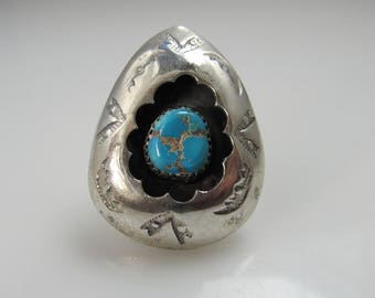 Vintage Shadow Box Sterling Silver Turquoise Ring