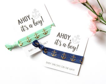 Ahoy, It's a Boy Baby Shower Personalized Hair Tie Favor | Custom Baby Shower Favor | Baby Boy | Anchors | Ahoy | Summertime
