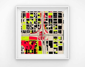 Chicago map, Chicago map print, Chicaco map art, map print, map art, map decor, map gift, City map,office wall art,office print,office decor