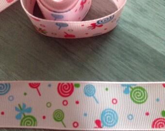 Ribbon GROSGRAIN sold by the yard bubble lollipop 25 mm