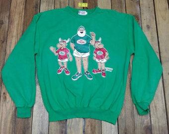 Vintage 80's CAPTAIN SANTA Sweater Large New York Papa Club Merry Christmas Green Pullover Crewneck Sweatshirt Santa Jumper Size L