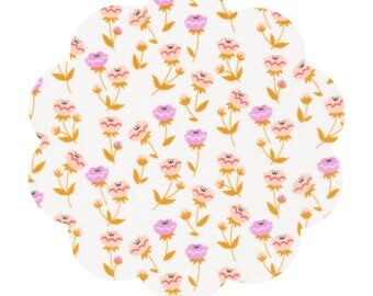 Organic floral fabric. Organic cotton fabric supply. Apparel cotton fabric. Vignette floral fabric. Buttercup pink. DIY sewing fabric supply