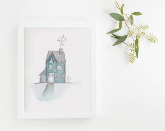 "Original illustration ""little house and cactus"" watercolor"