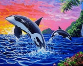 Large oil painting / marine life painting / original artwork / colorful painting / ocean painting / wall decor / tropical / canvas art