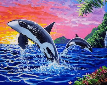 Large wall art painting, Marine life art, oil painting sunset, by Ryan Kimba