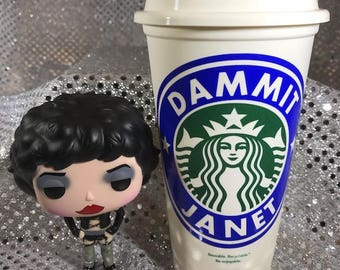"""Amazing Rocky Horror Picture Show Personalized Customized """"Dammit Janet"""" Starbucks Cup"""