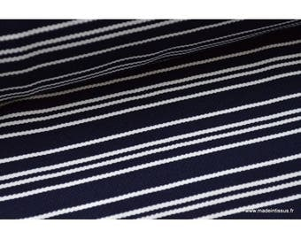 Heavy knit striped Navy Blue and white .x1m