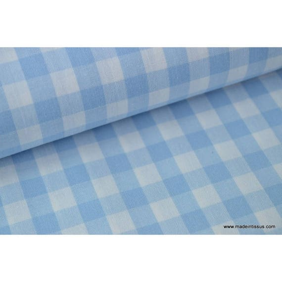 popeline tissu vichy 100 coton bleu ciel et blanc x1m. Black Bedroom Furniture Sets. Home Design Ideas