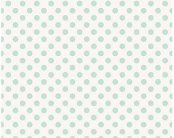 Garden Girl Mint Polka Dot Cotton Fabric by Riley Blake Designs c5665 - Mint Dot Fabric - Polka Dot Cotton Zoe Pearn Quilting Cotton