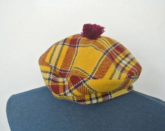 60s/70s Scottish Tam/Pom Pom Beret, Tartan Plaid, Maroon, Yellow, Black, White