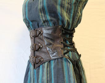 Leather corset belt. wide belt, Brown and black; leather waist cincher. medieval belt; wide leather belt