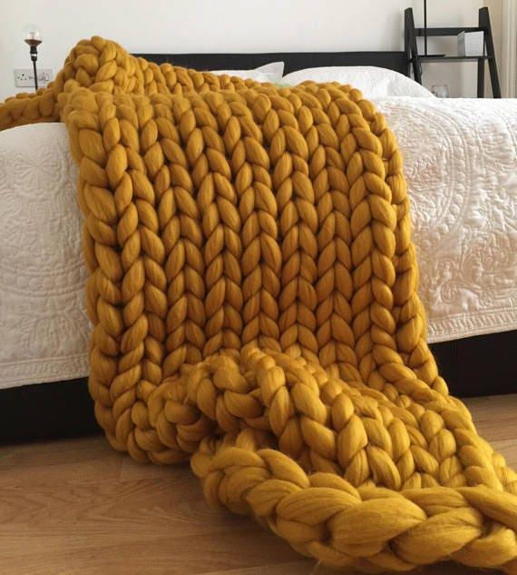 Chunky Knit Blanket Merino Wool Throw