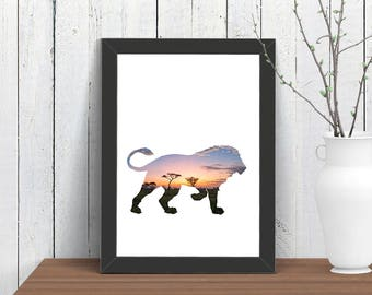 Small African Lion Print, Wall Art, Animal, Room Decor, Wildlife Nature , Poster, Child, Baby Nursery, A4 8x10 Ikea 21x30