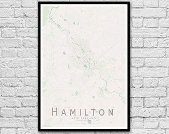 HAMILTON New Zealand City Street Map Print | Wall Art Poster | Wall decor | A3 A2