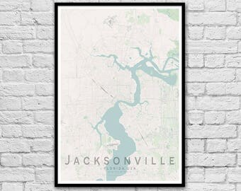 JACKSONVILLE Map Print | United States City Map Print | Florida Wall Art Poster | Wall decor | A3 A2