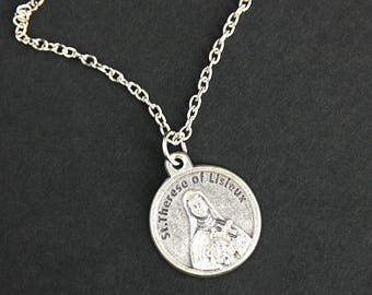 St Therese of Lisieux Necklace. Therese Prayer Necklace. Round Medal Necklace. Catholic Jewelry. Patron Saint Therese Necklace.