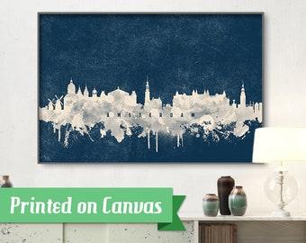 AMSTERDAM skyline, Amsterdam, Canvas, Print, Travel, Art, Home Decor, Painting, Vintage, Skyline, City prints
