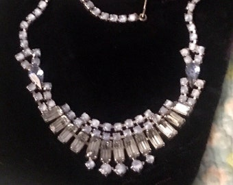 Vintage Blue Baguette and Moonstone Collar Necklace