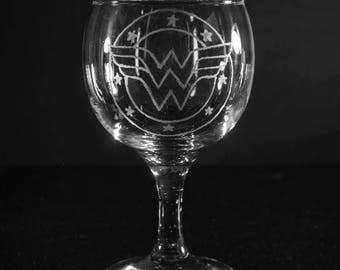 Wonder Woman Logo design hand engraved/etched wine glass