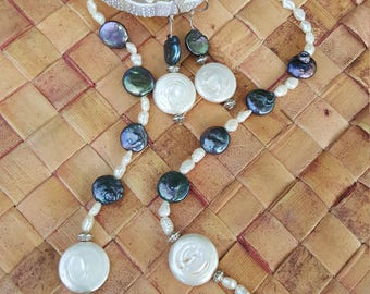 Coin Pearls Necklace and Earring set