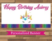 "18""x30"" Rainbow Glitter Unicorn Personalized Birthday Party Banner 