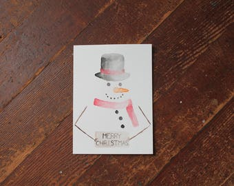 """Watercolor Card """"Merry Christmas from Frosty"""""""
