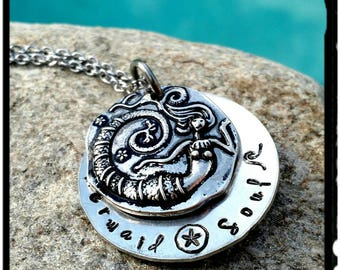 Mermaid Soul  - Hand Stamped Charm Necklace - Domed Aluminum Charm//Wave & Sand Dollar//Stainless or Silver Chain -Gift for Her/Beach/Surfer
