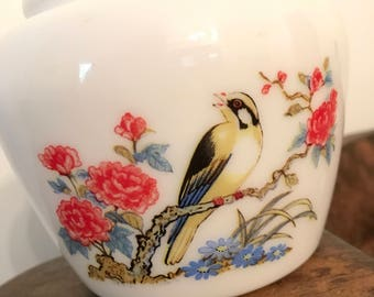 Vintage Avon Dynasty White Milk Glass Ginger Jar with Yellow Finch and Peony Pattern