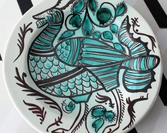 ON SALE  vintage dish in ceramic, turquoise, white, black, ethnic antique pattern,