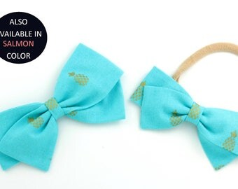 Pineapple Hair Clip - Aqua Hair Bow With Gold Pineapples - Fabric Bow - Headbands or Clips for Girls