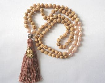 Mala 108 beads, Natural Rudraksha seeds & light pink pearls, Smoky Quartz, brass pendant, Brown tassel, Yoga and Healing Jewelry, Meditation
