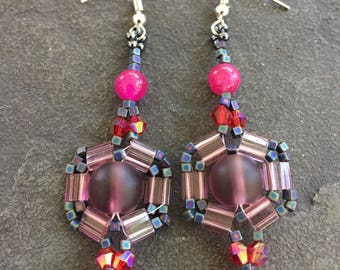 Miyuki tila beaded  woven earrings in red, charcoal and transparent mauve with sea glass, bicones square AB mini cubes and rounds.