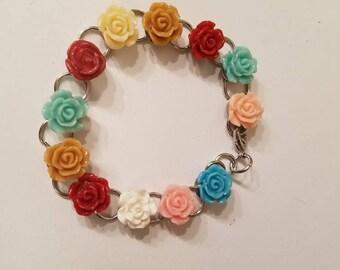 Rose bracelet.Unique bracelet, handmade bracelet, Multicolor bracelet