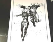 Wolverine and X23 original pencil by Olivier Coipel inked on A3 190gr. with Copic Ciao