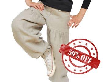 Handmade Linen Trousers for Girls
