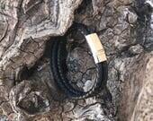 Bracelet homme cuir tressé noir fermoir aimanté
